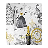 Emvency Flannel Throw Blanket Watercolor in Retro Beautiful Couple Bottle of Champagne Glasses Greyhound Dogs Jewellery Clock Celebrate 60x80 Inch Lightweight Cozy Plush Fluffy Warm Fuzzy Soft