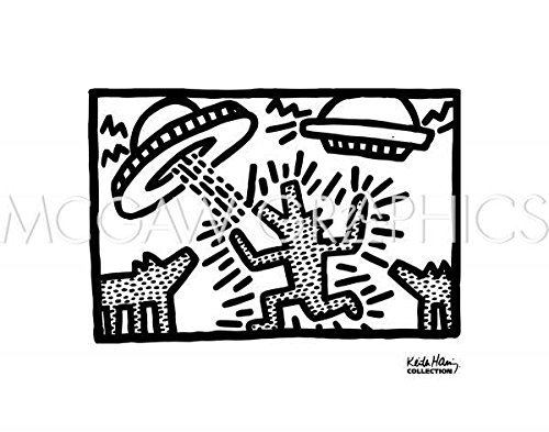 Untitled, 1982 (dogs with UFOs) Poster Print by Keith Haring (14 x 11) (1982 Poster Print)