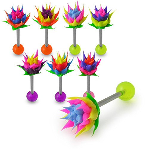 10 Pieces of Spikey Silicone Flower Tongue Barbell. 14Gx7/8(1.6x22MM) Surgical Steel Barbellwith 6MM Silicone Ball and 6MM UV Ball Tongue Ring.