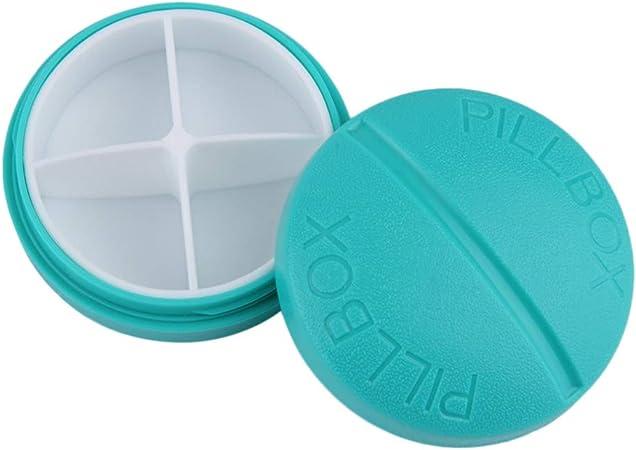 Ogquaton Mini Caja de Almacenamiento de Pastillas Redondas de Viaje compacta Estuche de 4 compartimientos para medicamentos con vitaminas (1 Unidades, Azul): Amazon.es: Hogar