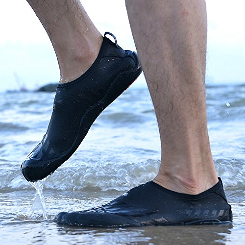 JACKSHIBO Aquaschuhe Badeschuhe Strandschuhe Herren Atmungsaktives Wasserschuhe Surfschuhe für Sommer Outdoor Schwarz