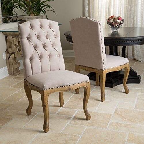 Christopher Knight Home 235308 Jolie French Design Weathered Wood Dining Chairs (Set of 2)