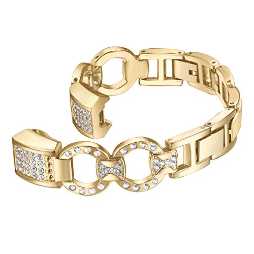 bayite Metal Bands Compatible Fitbit Alta and Alta HR, Set with Rhinestone, Gold