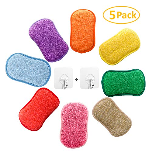 Microfiber Dual Action Kitchen Scrub Sponge, YOUYOUTE 5 Pack Washing Up Cleaner Heavy Duty Scouring Pads Household Cleaning Wash Cloth Reusable Non-Stick Non-Scratch with 2pcs Adhesive Hooks