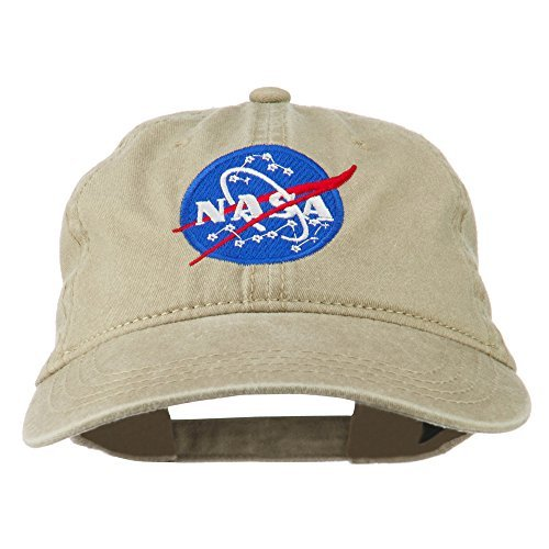 NASA Insignia Embroidered Pigment Dyed Cap - Khaki OSFM Pigment Cap