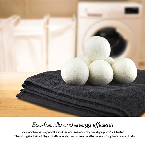 SnugPad Wool Dryer Balls XL Size 6 Pack, Natural Fabric Softener 100% Organic Premium New Zealand Wool, No Fillers, Anti Static, Lint Free, Odorless, Chemical Free and Reduces Wrinkles, 1000+ Loads, Baby Safe, Saving Energy & Time, White 6 Count