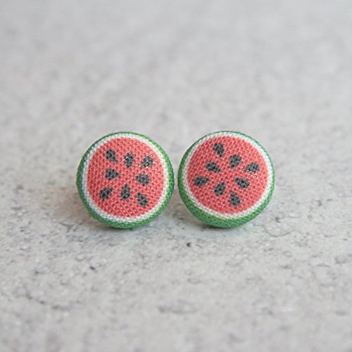 Watermelon Fabric Button ()