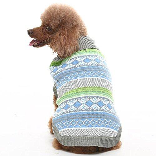 - EXPAWLORER Knit Festive Dog Sweater, Holiday Christmas Clothes,Blue