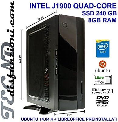 TD PC MINI ITX INTEL SSD J1900 256GB-MEMORIA RAM DE 8 GB, DVD VESA ...