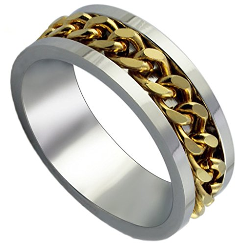 Men's Rings Stainless Steel Classic Channel Chain Golden Bands Finish Size 12 by Aienid