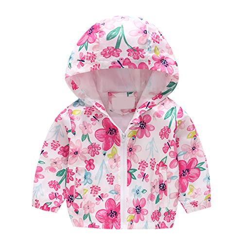 Baby Jacket Outwear Floral Printed Zipper Spring Autumn Windproof Hooded Coat