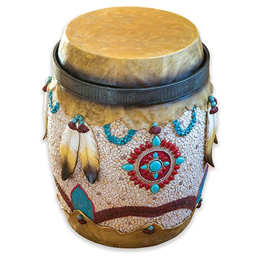 Bits and Pieces - Native American Drum Stand - Hand Painted Southwestern End Table - Decorative Indoor or Outdoor Side ()