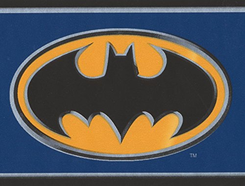 Batman Black on Yellow Sign Stylish Blue Wallpaper Border for Kids, Roll 15' x (Batman Border)