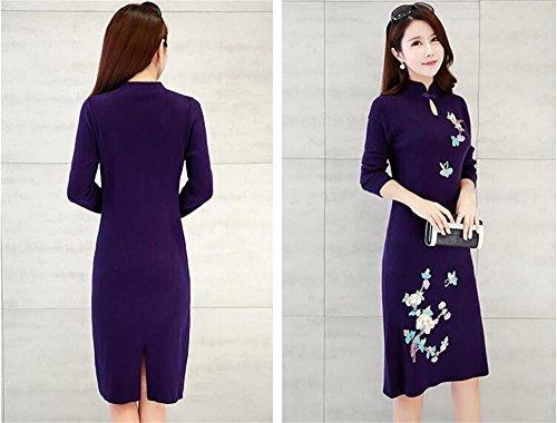 cinese da abito Knitwear lunghe Colore M autunno donna cheongsam Maglione inverno e NERO Women Maglioni Dark dimensioni maniche vestito maglione Purple nY1pqzCOw