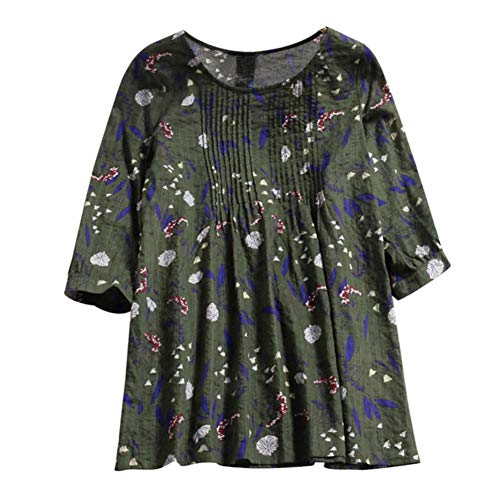 (Plus Size Tops,Toimoth Women Fashion Print Loose Pleated 3/4 Sleeve O-Neck Vintage Blouses Tops T-Shirt (Green,2XL))