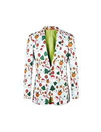 Diecaprle Christmas Men's Suit Blazer - Ugly Christmas Suit Christmas Tree Pattern