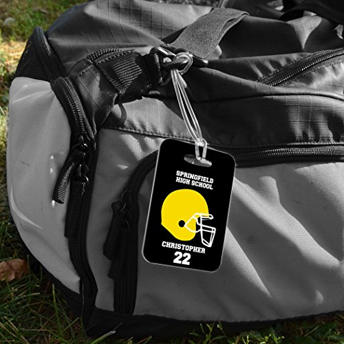 Football Luggage & Bag Tag   Personalized Football Team Helmet   Standard Lines on Back   MEDIUM   BLACK/YELLOW by ChalkTalkSPORTS (Image #4)