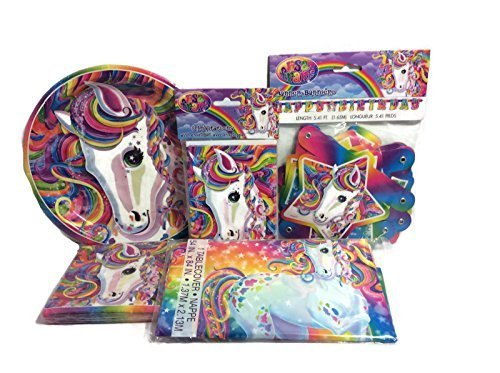 Majesty Neon Pony Lisa Frank Party Supply Bundle for 8- Includes Plates, Napkins, Invitations,table Cover, and Birthday Banner (Tie Dye Invitations compare prices)