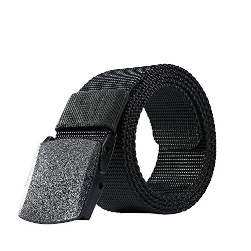 Nylon Belt Outdoor Men's Military Tactical Belt Casual Belt Plastic Automatic Buckle Webbing Belts(Black, X-Large)