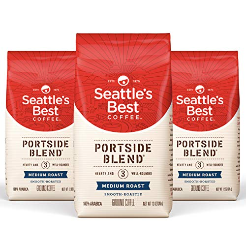 Seattle's Best Coffee Portside Blend Medium Roast Ground Coffee, 12 Ounce (Pack of three)