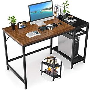 Nisear Bureau d'Ordinateur, Table de Bureau Informatique à Cadre en Acier avec Etagères Réglables, Grande Table d'Etude…