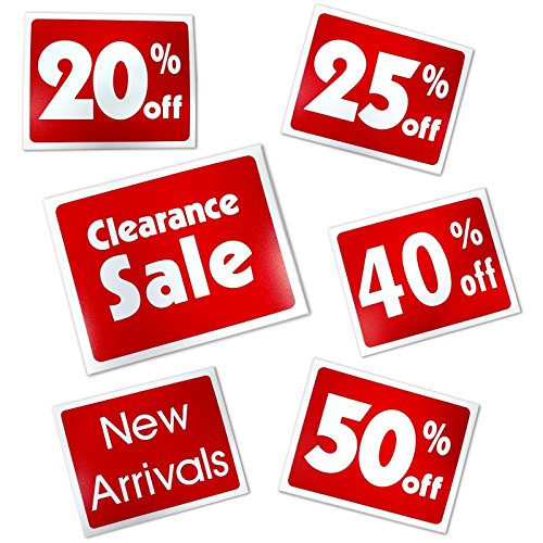 Red & White Retail Business Sign - Clearance Sale - 5.5