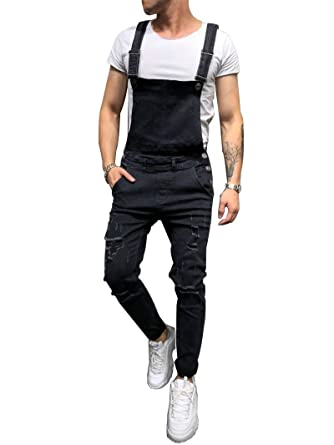 51a480cf5a9 Sunloudy Mens Denim Bib Overalls Slim Fit Tapered Ripped Jeans at ...