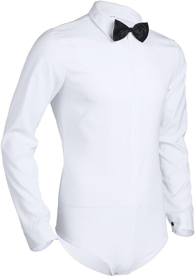 Freebily Camisa Manga Larga Blanca/Negra Slim Fit para Hombres ...