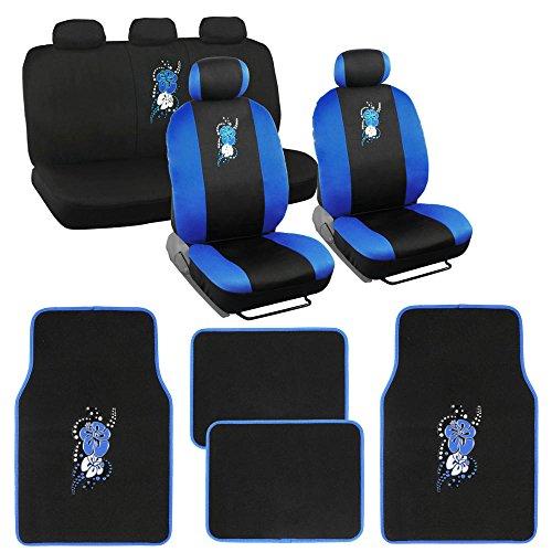 Blue on Black Hibiscus Flowers Auto Seat Covers for Car w/ Floor (Hibiscus Car Seat Cover)