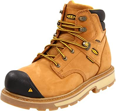 """KEEN Utility Men's Tacoma 6"""" Soft Toe Work Boot,Wheat,7 D US"""