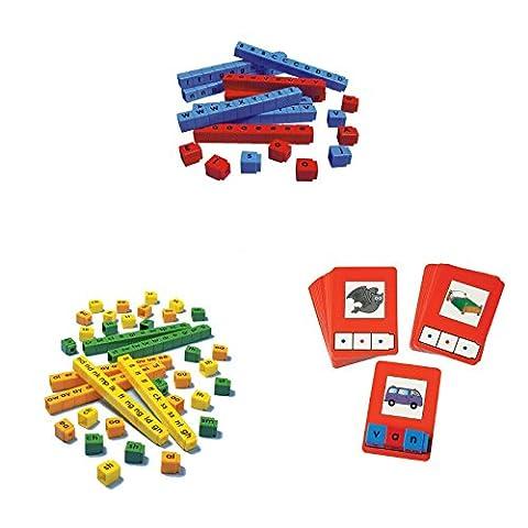 Bundle of Unifix Letter Cubes, Blend Cubes and C-V-C Words Building Cards - Algebra Tiles Student Set
