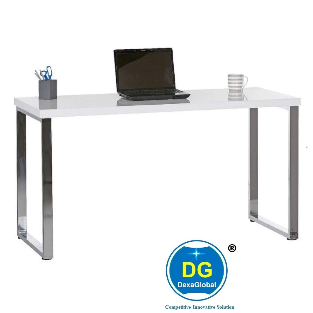 DG DEXAGLOBAL Beauty Study Desk Table with Gloss White Finish and Stainless  Steel Legs - Length (46 cm), Width (46 cm