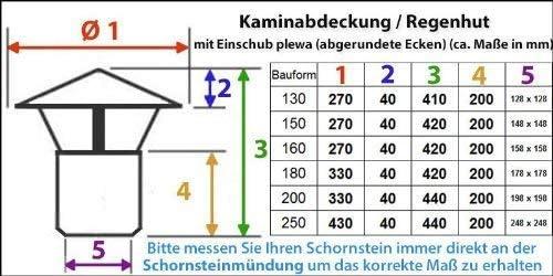 Plewa DN 200mm Nischenmarkt Massive Regenhaube//Kaminabdeckung//Schornsteinabdeckung in Edelstahl abgerundete Ecken