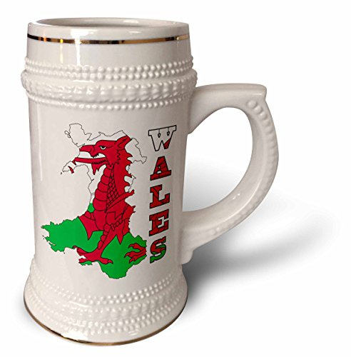 777images Flags and Maps - Europe - Flag of Wales in outline map of Wales and country name - 22oz Stein Mug (stn_165736_1) ()