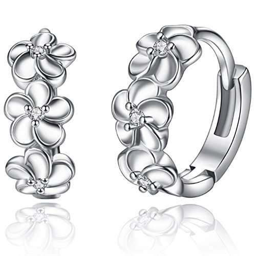 silver earrings_ silver earrings 925 ladies _ women's earrings silver 925_ Cubic Zirconia Earrings_ Huggie Earrings