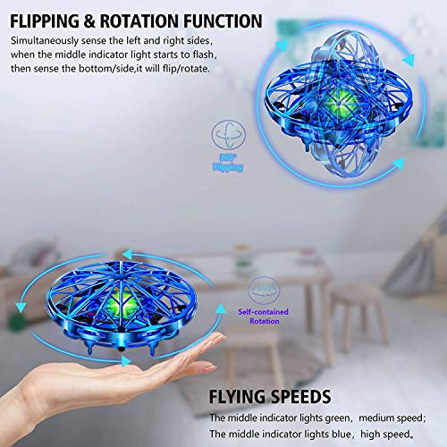 UTTORA Mini UFO Drone con Luce per Adulti e Bambini Giocattoli Educativi Sensore a Infrarossi Intelligente Ricarica USB Interni Esterni Portatile