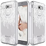 For Samsung Galaxy J7 V / J7 2017 / J7 Prime / J7 Perx / J7 Sky Pro Case, LK [Shock Absorbing] White Henna Mandala Floral Lace Clear Design Printed Air Hybrid with TPU Bumper Protective Case Cover