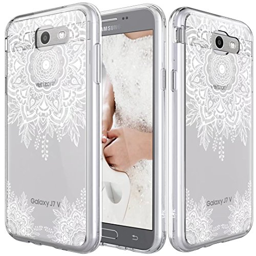 LK Case for Samsung Galaxy J7 V / J7 2017 / J7 Prime / J7 Perx / J7 Sky Pro, [Shock Absorbing] White Henna Mandala Floral Lace Clear Design Printed Air Hybrid with TPU Bumper Protective Case Cover