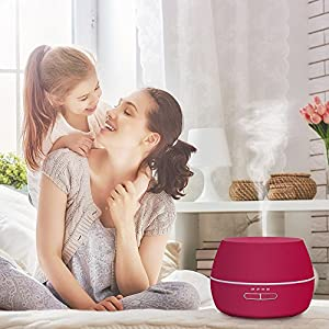 Humidifier hysure Essential Oils diffuser Scent Diffuser Mini Humidifier for Baby Room, Bedroom, Home, Room, Spa, Desktop and Whole House, Rose Red