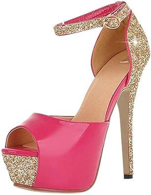 SUNNY Store Womens Wide Width Heel Pump Heel Close Toe Stilleto Platform Mary-Jean Shoes
