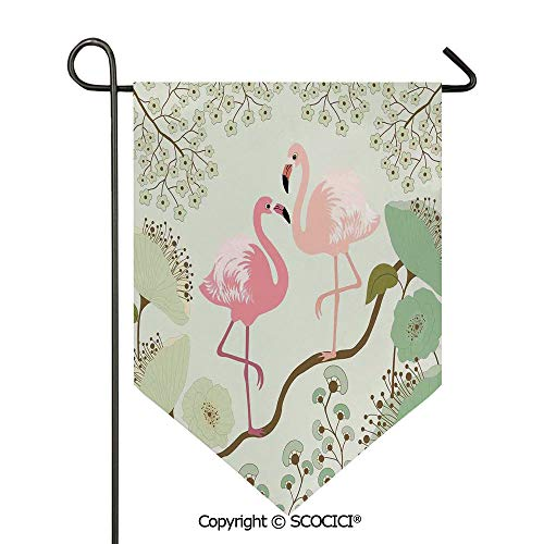 SCOCICI Easy Clean Durable Charming 12x18.5in Garden Flag Blossoming Floral Background with Pair of Flamingos on Tree Branch,Pale Green Pink Salmon Double Sided Printed,Flag Pole NOT Included