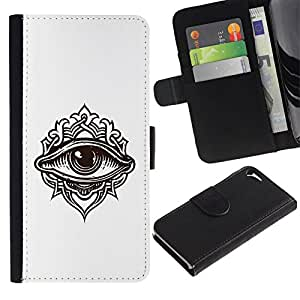 All Phone Most Case / Oferta Especial Cáscara Funda de cuero Monedero Cubierta de proteccion Caso / Wallet Case for Apple Iphone 5 / 5S // Detailed Eye Illustration