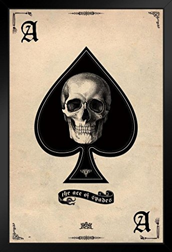 Pyramid America Ace of Spades Card Gaming Framed Poster 14x20 inch