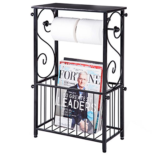 (Metal Scroll Design Bathroom Storage Table Shelf with Toilet Paper Dispenser and Magazine Basket)