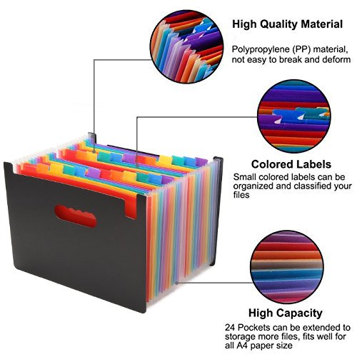 Expanding File Folder/24 Pockets A4 Accordion File Organizer/ Multicolor Portable Expanding Wallets/ High Capacity Plastic Stand Bag With Colored Tab For Business/Office/Study by MICNO (Image #3)
