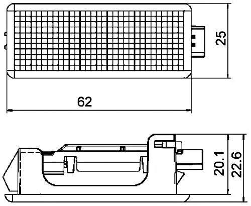LED Innenraumlicht 22,6 X 25 mm 12 V Einstiegsleuchte HELLA 2XT 010 622-111Innenraumleuchte