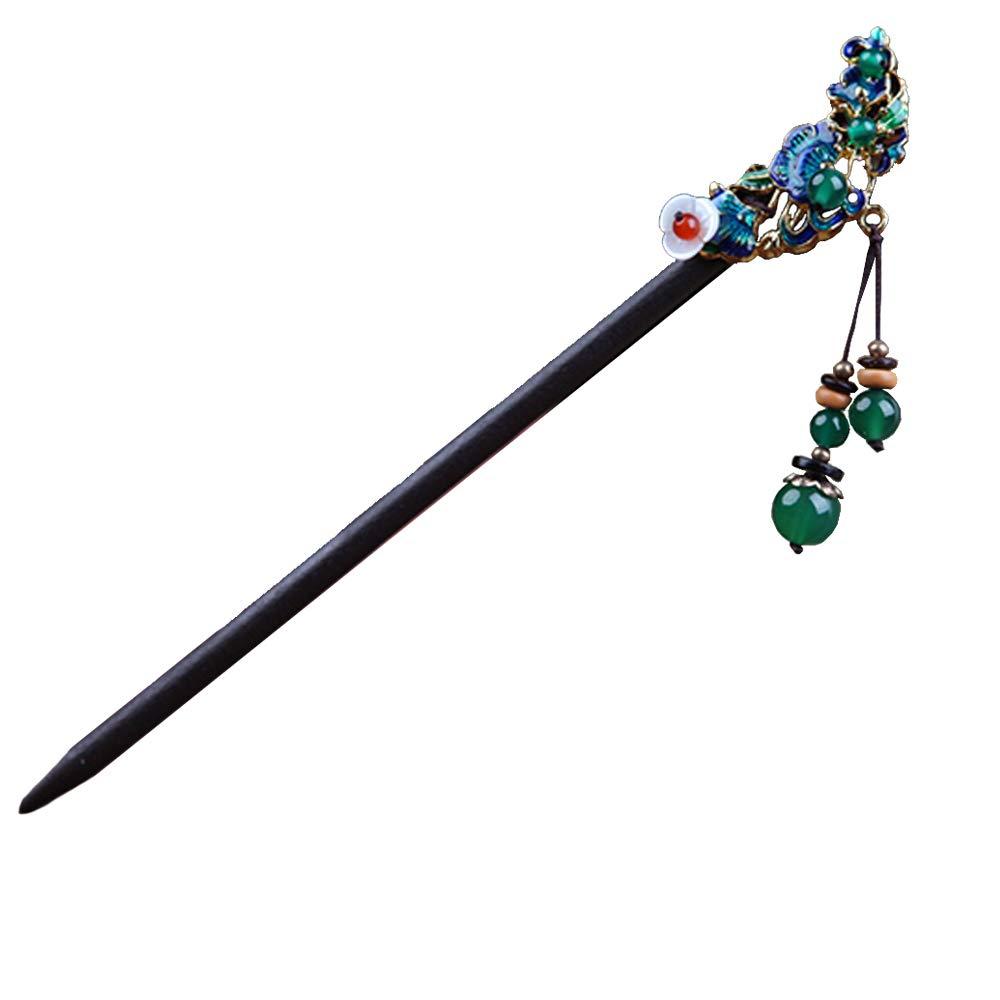 Red Vintage Hair Chopsticks Acrylic Hair Stick Bead Hairpin for Girl