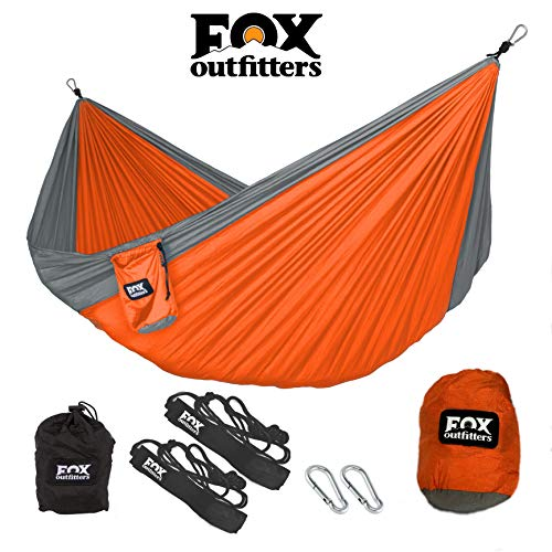 Fox Outfitters Neolite Single Camping Hammock - Lightweight Portable Nylon Parachute Hammock for Backpacking, Travel, Beach, Yard. Hammock Straps & Steel Carabiners Included