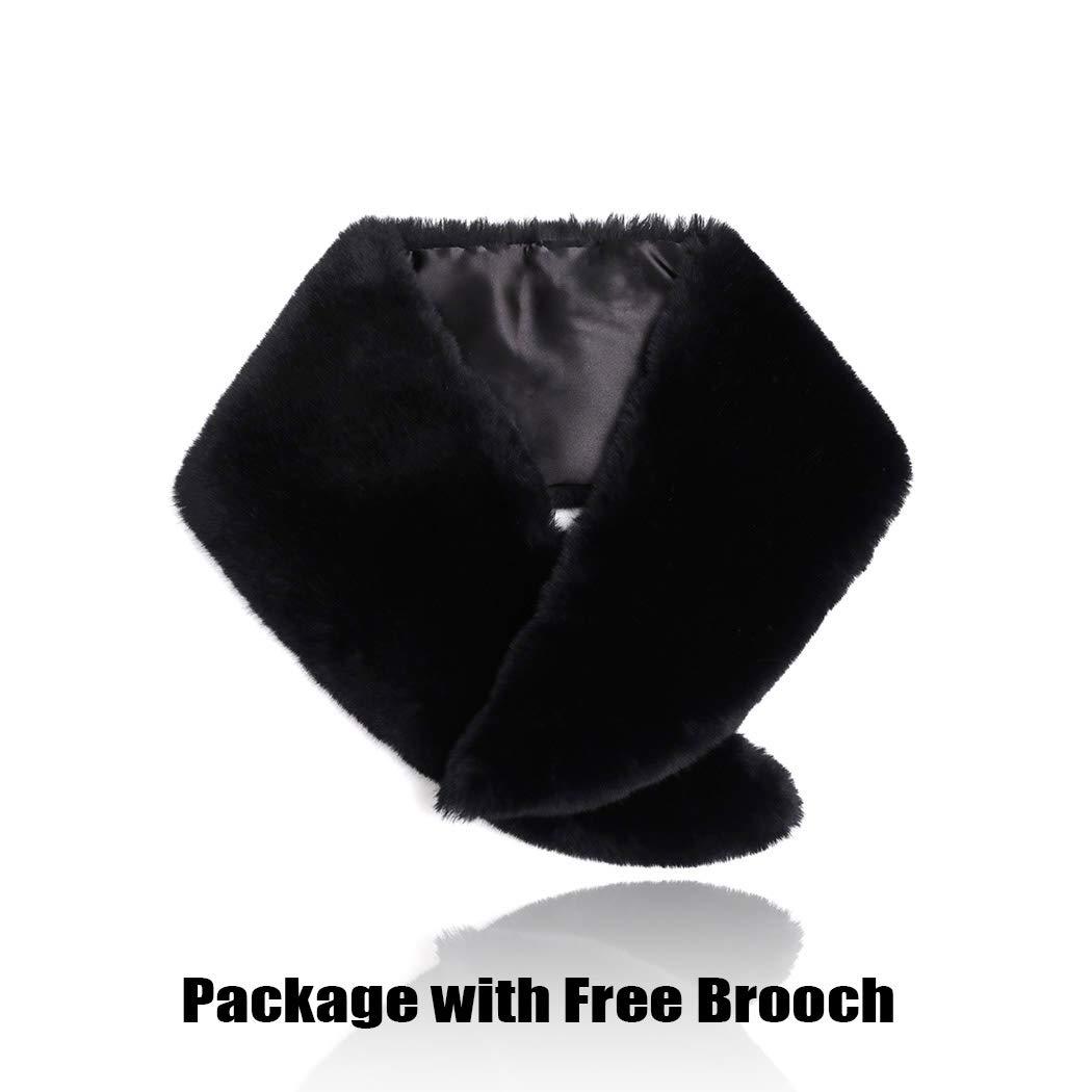 Artio Women/'s Faux Fur Collar Neck Scarf Wrap Winter Warmer
