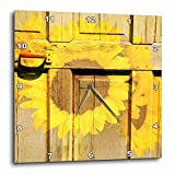 Cheap 3dRose dpp_57848_2 Rustic Yellow Sunflowers and a Door-Inspired Flowers-Wall Clock, 13 by 13-Inch